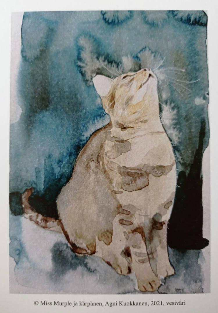 Akvarellityössä kissa ja kärpänen